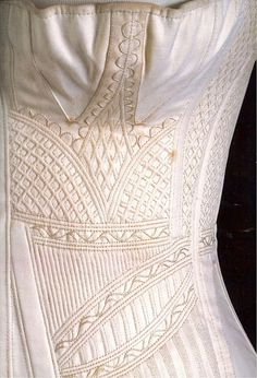 e3d3c013b6 decorative padding stitches on a corset c. 1820s Vintage Underwear