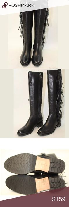 ***SOLD*****Carolina Espinosa black leather boots Carolina Espinosa NWT tall black leather fringe boots   The footwear is marked USA size 8 M. The shoes measure approx. 10.25 inches from heel to toe on the outsole. The widest part of the sole measures approx. 3.65 inches across on the outsole. The heel height is approx. 2 inches. The shaft height of the boot measures approx. 16 inches. The outer circumference of the top of the boots measures approx. 14.75 inches. carolina espinosa Shoes