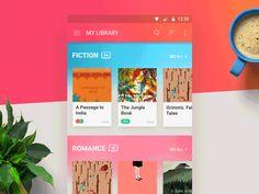 Reader Mobile App, UI, UX, Animation