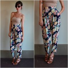 Floral Print Pleated Trouser Pants / Slouchy by babybirdvintage, $32.00