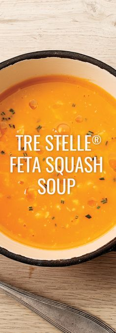 A silky textured autumn soup flecked with earthy herbs and spices topped with luscious cubes of Feta cheese.