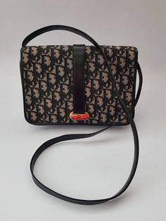 1ff91c759ff5 DIOR Christian Dior Vintage Black Monogrammed Shoulder   Clutch Bag. French  designer purse