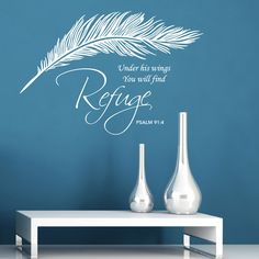 Our religious quote wall sticker features an elegantly crafted feather, with beautiful typography - inspirational Psalm wall art for your home.
