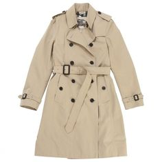 Beige Cotton Trench coat BURBERRY PRORSUM ($780) ❤ liked on Polyvore featuring outerwear, coats, jackets, burberry trenchcoat, cotton coat, burberry, brown trench coat and cotton trench coat