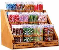 This Classic Candy Stick Display comes with 12 plastic jars, jar labels & a sturdy wood stand. Display rack measures wide, tall at the back and 11 deep. Candy Store Display, Store Displays, Candy Stand, Stick Candy, Candy Jars, Candy Craze, Wholesale Candy, Retro Candy, 90s Candy