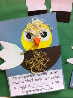 oviparous animal craft and cute poem for science journal.