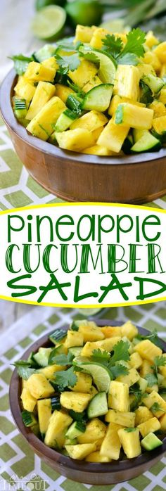 basically anything with cucumber salad.This perfectly refreshing Pineapple Cucumber Salad is wonderfully easy to make and simply delicious! A gorgeous, healthy alternative to dessert! Vegetarian Recipes, Cooking Recipes, Healthy Recipes, Cooking Food, Fast Recipes, Pineapple Recipes Healthy, Cooking Beets, Simple Recipes, Healthy Salads