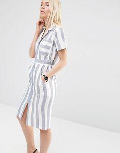 ASOS | ASOS Short Sleeve Shirt Dress in Stripe at ASOS