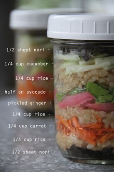 Love this idea from kristaandjess.wordpress.com.  She's taken sushi, broken it down and packed it in jars for an easy grab and carry lunch on the go.  Great idea for portion control, if that's your thing.