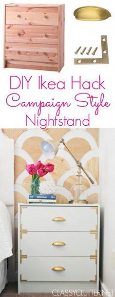 DIY Campaign Style Nightstands - Ikea Rast Hack   www.classyclutter.net