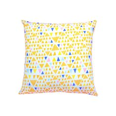 Triangle Pillow Cover, Triangle Cushion, Yellow Throw Pillow, Tribal Cushion, Blue Pillow, Tribal Decor, Aztec Decor, Cushion 16 x 16.  FEATURES: *** Pillow Cover is designed for an 16 x 16 (40 cm x 40 cm) pillow form and is created approximately 3/4 inch smaller for a professional fit. *** Orange, Yellow, Blue, Light Pink Triangle Print 100% cotton fabric on the front *** Plain Navy Blue 100% cotton fabric on the back. *** Invisible zipper closure for easy removal and cleaning.  All edg...