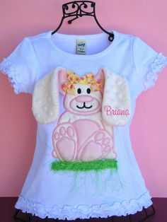 Childrens Applique Shirt Easter Bunny Embroidered 3D by parsik93, $29.99