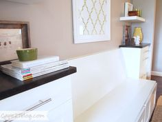 Built-in Banquette Seat using IKEA refrigerator cabinets