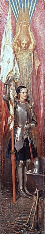 """Painting of Joan of Arc by Theodore Blake Wirgman in 1890 showing Joan with her Banner and an Angel above her with crown titled: """"Joan of Arc"""""""