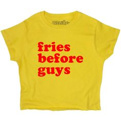 Fries Before Guys Crop Top Yellow Slogan S M L Xl Tumblr Instagram... (51 BRL) ❤ liked on Polyvore featuring tops, crop tops, shirts, t-shirts, yellow, women's clothing, long shirt, yellow crop top, loose shirts and patterned shirts