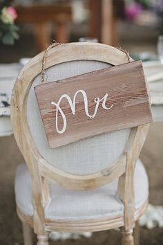 Rustic chair sign