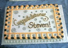 Black & Gold Graduation on Cake Central Graduation Cake Designs, Graduation Party Desserts, Graduation Cookies, Graduation Ideas, Birthday Sheet Cakes, Gold Birthday Cake, Black And Gold Cake, Black Gold, Sheet Cakes Decorated