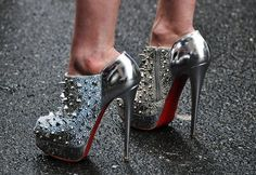 Heelstime!!  Christian Louboutin 'Bridget's Back' Silver Spiked Ankle Boots