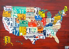 """Medium License Plate Map of the United States - 36"""" x 24"""" USA.  via Etsy. i love! wish i could collect all the plates to do this myself!"""
