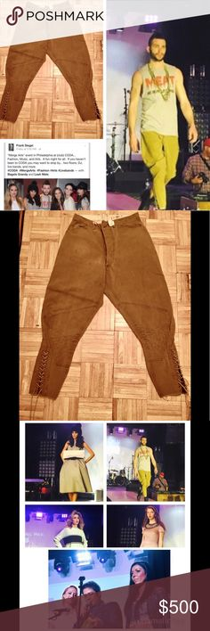 Vintage Polo runway riding pant w/corset closure Great condition vintage POLO riding pant with corset calf ties denim khakis originally produced in the 1950s. During my time as Fashion Director of Merge Arts (see pic) I used them in a fashion show on male model. Expertly cleaned. Supplied to runway show by R2L NYC store which featured them as display item only. Unisex, for the ultra fashion forward female/male who wants to own unique couture. Waist expertly altered to fit smaller waist. 15…