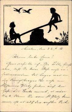 Scherenschnitt Ansichtskarte / Postkarte Carus, Zwei Kinder beim Schaukeln, Gänse