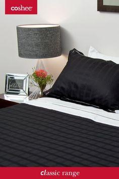 Classic Black Super King SALE!! $̴3̴4̴9̴.̴9̴5̴ $249.00 265 x 210 cm 6 Piece Coshee Quilt cover set includes: 1 white bamboo/cotton top sheet, 2 plain bamboo/cotton pillowcases 1 cotton sateen quilt cover 2 pillow cases matching the quilt cover Classic Bed Linen, Linen Bedding, Bedding Sets, Bedroom Colors, Bedroom Ideas, Simple Bed, Bed Linen Sets, Quilt Cover Sets, How To Make Bed