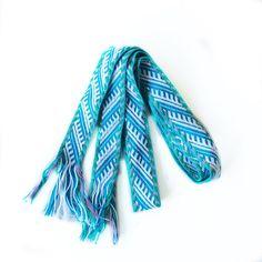Tablet Weaving  Belts Blue Loom woven belt, Folklore costume, Inkle Weaving belt, Gift for her, Mint long skinny belt, Purple Celtic Belt