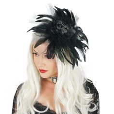 Not so itsy-bitsy... this Black Feather Fascinator with Rhinestone Spider Accent is all the rave this Halloween Season! .  . . #FeatherFascinator #Spider #FeatherTrendsetter #TheFeatherPlace #itsybitsyspider #trickortreat #spooky #happyhalloween #costume #halloweencostume #halloweenparty #unique . . Shop > www.featherplace.com Model > @thelatestmuse Animal Costumes, Diy Costumes, Halloween Costumes, Feather Mask, Feather Skirt, Halloween Season, Halloween Party, Itsy Bitsy Spider, Fantasy Costumes
