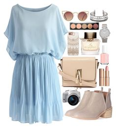 """""""Blue dress"""" by ritacvi ❤ liked on Polyvore featuring Jeffrey Campbell, Casetify, Essie, Burberry, Charlotte Tilbury, Larsson & Jennings, LYDC, Chicwish, Quay and Eos"""