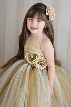 Tutu Flower Girl Dress - (maybe orange ivory tan?)