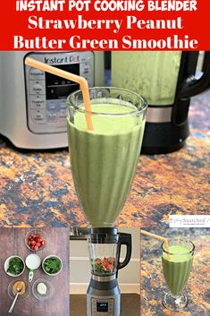 Instant pot ace blender strawberry peanut butter green smoothie {video} is a quick and easy recipe that uses kale, baby spinach, natural peanut Protein Smoothie Recipes, Breakfast Smoothie Recipes, Smoothie Blender, Smoothie Cleanse, Strawberry Spinach Smoothie, Healthy Green Smoothies, Vegetable Smoothies, Granola, Freeze