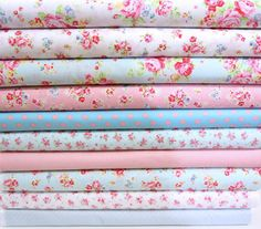 Antique flower in pastel mixed bundles  with dot ,lecien fabric,Just arrived. $89.99, via Etsy.