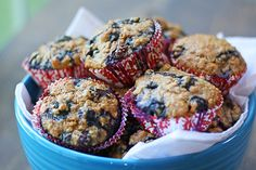 blueberry oatmeal muffin ~ recipe ~ healthy recipe ~ breakfast or snacks ~ the wickednoodle.com ~ 1 1/2 cups quick-cooking oats 1 1/2 cups buttermilk 2/3 all-purpose flour 1/2 cup whole-wheat flour 3/4 cup brown sugar 2 t cinnamon 1 t baking powder 1 t baking soda 1 teaspoon salt 1/4 cup vegetable or canola oil zest and juice of one lemon 2 eggs 2 pints fresh blueberries cooking spray