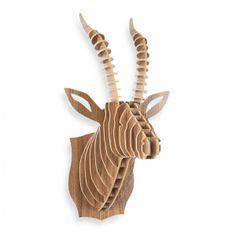 safari wooden animal trophy heads