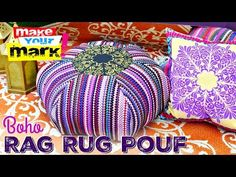 Rag Rug Floor Pouf DIY with dollar store rugs. Diy Craft Projects, Diy And Crafts, Sewing Projects, Projects To Try, Craft Ideas, Floor Pouf, Floor Rugs, Rag Rug Tutorial, Pillow Tutorial