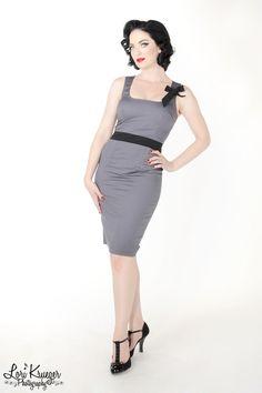 $62.00Miss Prissy Pindot Sleeveless Wiggle Dress in Grey