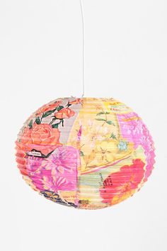 for a children's room, an empty corner, playroom.Handmade Paper Lantern at Urban Outfitters Paper Lanterns Bedroom, Little Girl Rooms, Handmade Shop, Handmade Ideas, Home Lighting, Wall Prints, Garland, Christmas Bulbs, Room Decor