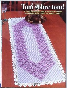 Scroll down blog for a pretty Chicken Scratch table topper pattern