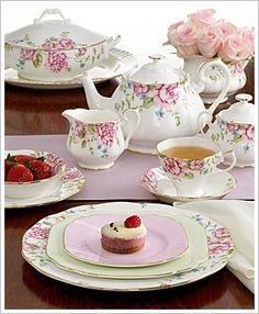 pink tea set