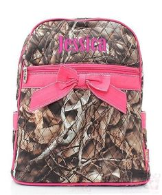 """Personalized Natural Camo Hot Pink 15"""" Quilted Backpack"""