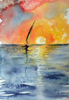 ARTFINDER: Sailboat at sunrise by Kovács Anna Brigitta - Original watercolour painting on high quality watercolour paper. I love landscapes, still life, nature and wildlife, lights and shadows, colorful sight. Watercolor Sunrise, Art Painting, Sunrise Painting, Landscape Paintings, Ocean Painting, Watercolor Pictures, Watercolor Landscape Paintings, Sunrise Art, Art
