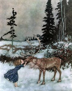 'The reindeer did not dare to stop. It ran on till it came to the bush with the red berries. There it put Gerda down, and kisses her on the mouth, while big shining tears trickled down its face' Illustration by Edmund Dulac from The Snow Queen - The Golden Age of Illustration Series. #fairytales #snowqueen