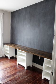 Here are ideas for making a practical home office desk that support double desk at your home office. Let's check at our Double Desk Home Office Design Ideas. Home Office Space, Home Office Design, Home Office Decor, Home Decor, Design Desk, Dyi Office Desk, Double Desk Office, Kids Office, Office Art