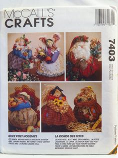 McCall's 7403 Roly Poly Holiday Centerpieces
