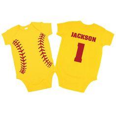 Personalized Softball Bodysuit. Baby Shower Gift /Birthday Present. Softball Boy Clothes. Softball One Piece Bodysuit. on Etsy, $22.00