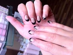 Nude and Black French. #nails #nailart #tipsnailbar