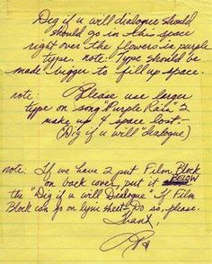 It's all in the details! Prince's notes on the artwork for the Purple Rain album cover