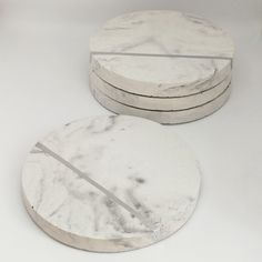 White concrete marble effect coasters with silver stripe
