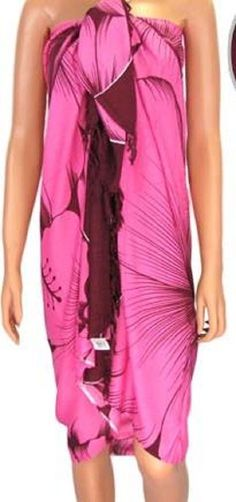 1e24ac5a69 Sarong Pink Tropical Swim Coverup Pareo Luau Dress Hawaiian  none  CoverUp