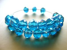 Turquoise blue crystal beads, aque blue Swarovski rondelle crystal beads, 8x6mm 8 beads, natural faceted crystal beads